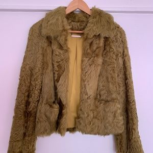 Diane von Furstenberg Olive Green Lamb Fur Coat